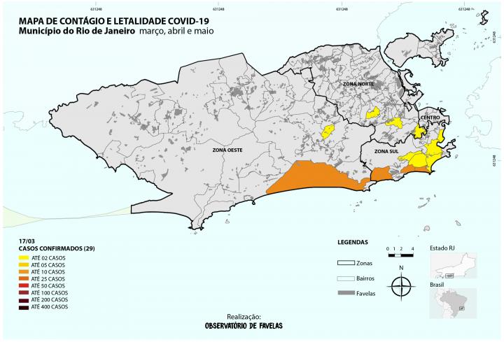 Mapa 1.1 – Disseminação COVID 19 no município do Rio de Janeiro